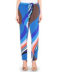 Emilio Pucci Printed Silk-Crepe Tapered Trousers - For Women blue - Lyst