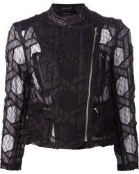 Yigal Azrouel Geometric Lace Biker Jacket - Lyst