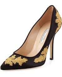 Oscar de la Renta Grace Metallic Embroidered Pump - Lyst
