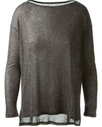 Enza Costa Charcoal Lightly Transparent Fine Knit Pullover - Lyst
