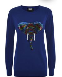 Markus Lupfer Tribal Elephant Sequin Sweater - Lyst