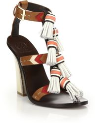 Tory Burch | Weaver Tasseled Leather Sandals | Lyst