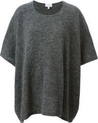 Lala berlin Oversized Short Sleeve Sweater in Gray | Lyst