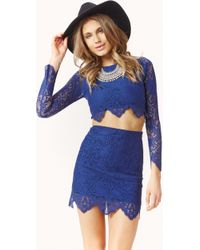 For Love And Lemons Midnight Lace Crop Top - Lyst