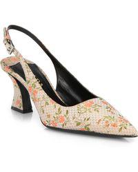 Prada Floral Embroidered Silk Slingback Pumps - Lyst