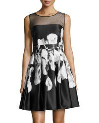 Halston Heritage Iris-print Full-skirt Dress - Lyst