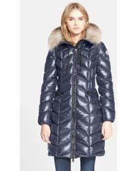 Moncler 'Bellette' Lacquer Down Coat With Genuine Fox Fur Ruff blue - Lyst