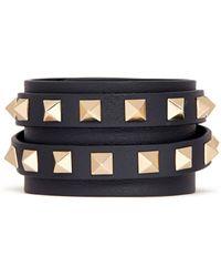 Valentino 'Rockstud' Double Wrap Leather Bracelet - Lyst
