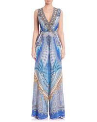 Camilla - Twist-back Silk Crepe Jumpsuit - Lyst