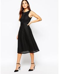 Warehouse Formed Linear Midi Dress - Black