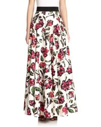 Milly Pleated Blossom-Print Maxi Skirt - Lyst