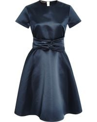 Rochas Belted Duchesse Satin Dress - Lyst