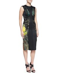J. Mendel Cutoutback Abstractprint Dress with Lace - Lyst