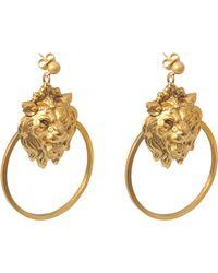 Ela Stone Lion Hoop Earrings - Metallic