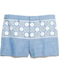 Madewell Chambray Sunstitch Shorts - Blue