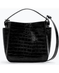 Zara Croc Bucket Bag - Lyst