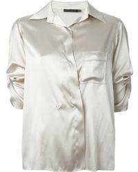 Donna Karan New York Satin Three-quarter Sleeve Shirt - Lyst