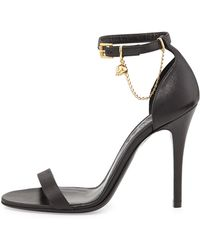 Alexander McQueen Ankle-wrap High Heel Sandal with Skull Charm - Lyst