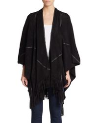 Saks Fifth Avenue Black Label Faux Leather Accented Fringe Cardigan - Lyst
