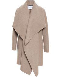 Harris Wharf London Draped Wool Over-coat - Natural
