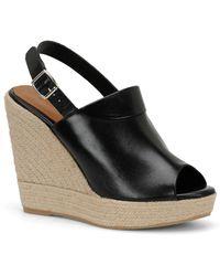 Carmen Marc Valvo - Iris Leather Wedge Platform Sandal - Lyst