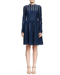 Lanvin Long-sleeve Circle  Floral Lace Dress - Lyst