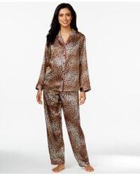 Morgan Taylor - Printed Satin Top And Pajama Pants Set - Lyst