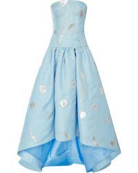 Oscar de la Renta Embroidered Hi-Low Strapless Gown - Lyst