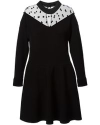 Emanuel Ungaro Polka Dot Detail Flared Dress - Lyst