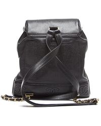 Chanel Preowned Black Caviar Leather Vintage Medium Backpack - Lyst