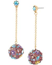 Betsey Johnson Mixed Multi Flower And Stone Orb Drop Earrings - Multicolour