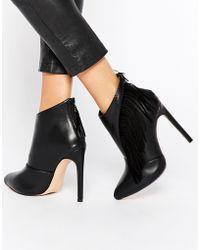 Lost Ink Black Fringed Heeled Shoe Boots