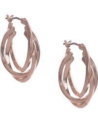 Anne Klein - Rose Goldtone Multi-strand Hoop Earrings - Lyst
