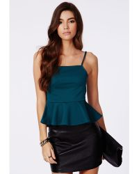 Missguided Rosemary Ribbed Peplum Cami Top Teal - Green