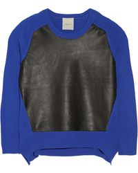 Mason by Michelle Mason Leather-Paneled Wool And Cashmere-Blend Sweater - Lyst