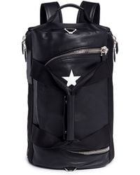 Givenchy Star Print Leather Duffle Backpack - Black