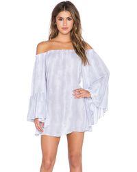 Indah Kamani Off Shoulder Tunic Dress - Gray