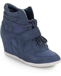 Ash Bowie Leather  Canvas Wedge Sneakers - Lyst