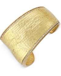 Vince Camuto - Gold-tone Pavé Trim Hammered Cuff Bracelet - Lyst