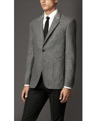 Burberry Modern Fit Check Wool Cashmere Jacket - Lyst