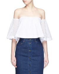 Nicholas | Broderie Anglaise Cotton Off-shoulder Top | Lyst