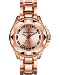 Karl Lagerfeld Unisex Karl 7 Rose Goldtone Pyramid Stud Watch pink - Lyst