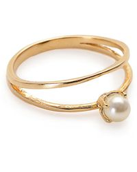 Bing Bang - Faux Pearl Double Band Ring - Lyst
