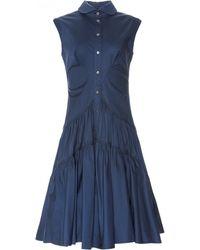 Zac Posen | Sleeveless Stretch Cotton Poplin Button Front Dress | Lyst