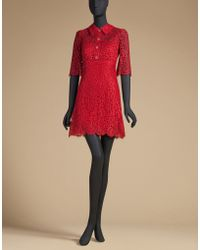 Dolce & Gabbana | Cord Lace Dress With Jewel Buttons | Lyst