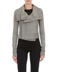 Rick Owens Blistered Leather Funnel Collar Jacket - Lyst