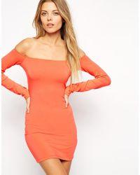 Asos Long Sleeve Mini Bardot Body-conscious Dress - Lyst
