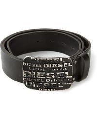 Diesel Logo Engraved Buckle Belt - Lyst