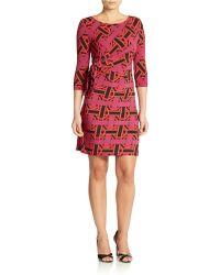 Donna Morgan Three-quarter Sleeve Printed Wrap Dress - Lyst