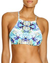 Nanette Lepore Kamari High Neck Bikini Top - Blue